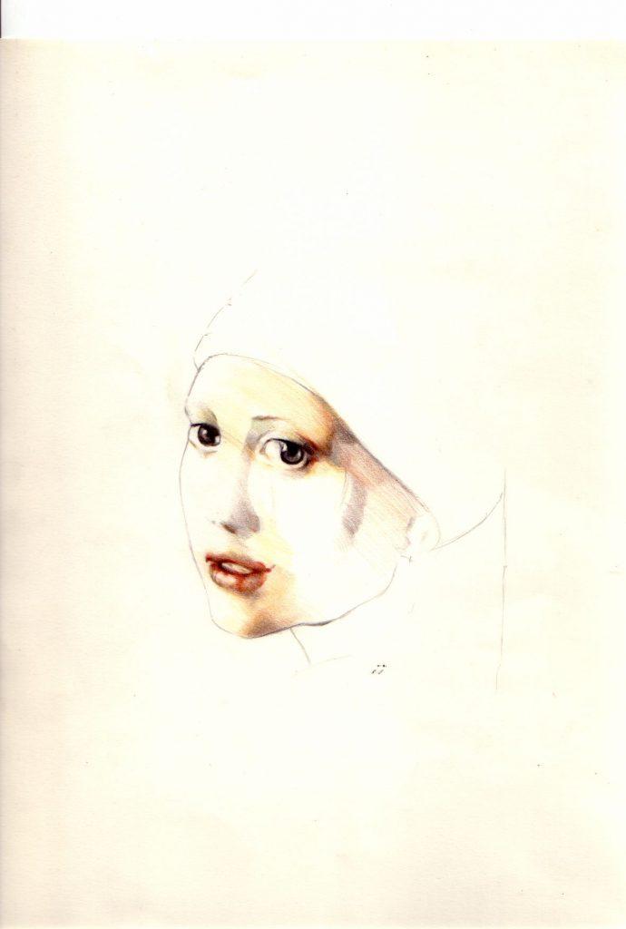 Étude de visage d'après Johannes Vermeer. 2002