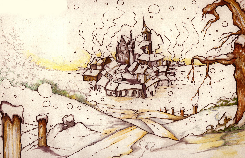 Petit village de Noel. Crayons et encres. 1999