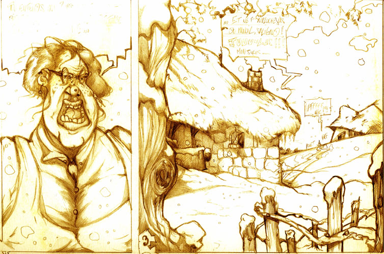 Dessins BD d'après le scénario Le conte de Noel écrit par Lilian Massoullier.1996