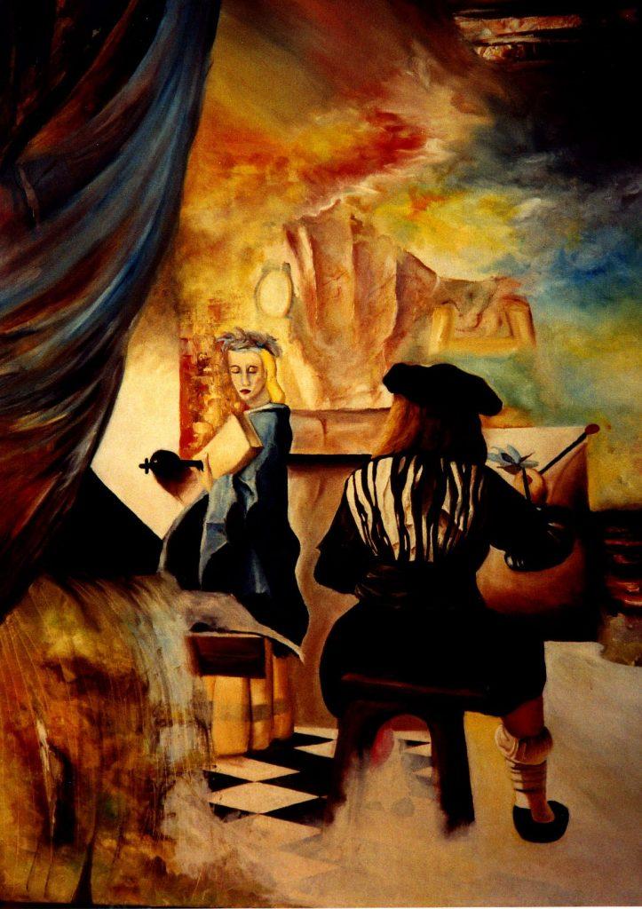 Autour de Vermeer. Huile sur toile. 1990. Second prix au concours de l'exposition « Tolos'art ». Toulouse. France.