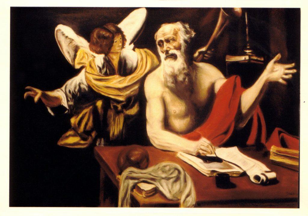 Reproduction de Saint-Jérôme et l'ange de Simon Vouet. 1989